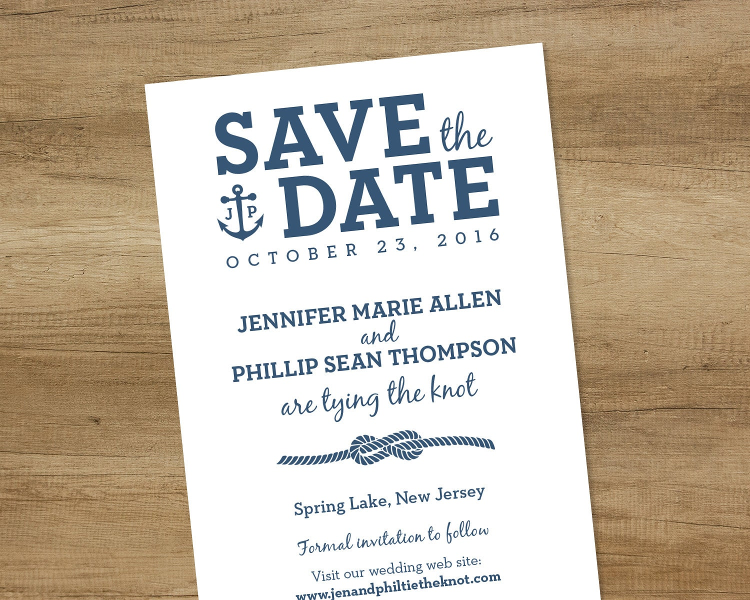 Nautical Save The Date / White and Navy / Infinity Knot Rope, Anchor ...