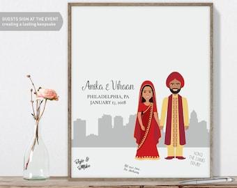 Indian Guest Book Portrait / Philadelphia Skyline / Indian Wedding Portrait Guestbook Illustration ▷ Printed Paper, Canvas {or} Printable