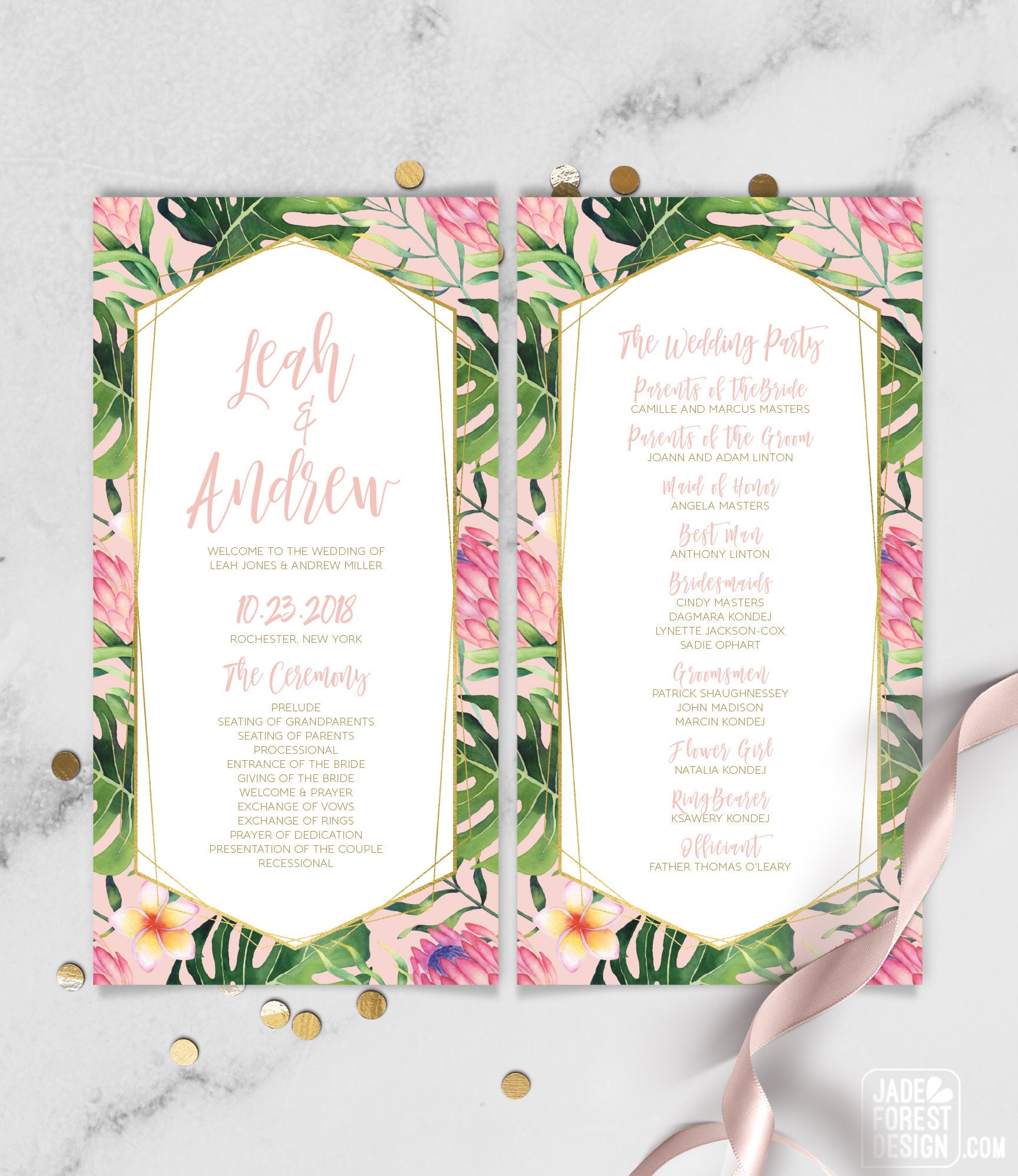 Tropical Wedding Program / Tropical Leaves, Tropical Flowers ...