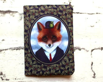 """Card holder, bank card case, CB """"Fox Magritte"""" case. Fox. Illustration, textile printing and couture by Andi Lee."""