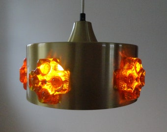60s/70s Brass Pendant With Orange Decoration // Made In Denmark