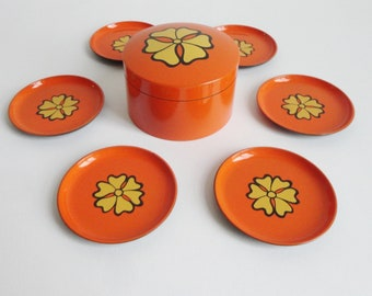 60s/70s Orange Lacquerware Coasters // Box Set // Made In Japan