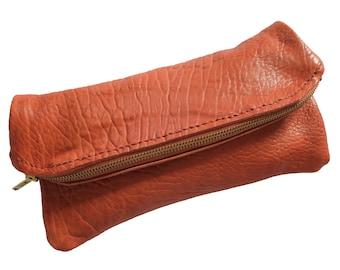 """Hand Sewn Lambskin Clutch """"Little Wing"""" Zipper Bag"""