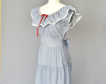 1940s Peasant Top Floor Length Dress w/ Original Matching Purse