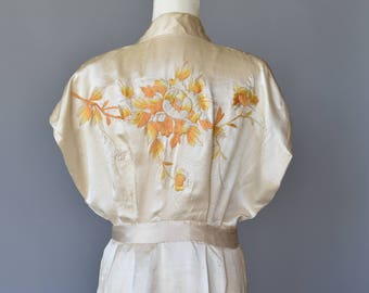 Ivory Silk Robe Embroidered in Yellows, Vintage 1950s Handmade