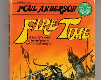 Poul Anderson-Fire Time-Vintage 1975 Paperback Book Science Fiction Fantasy Darrell Sweet Cover Art Interplanetary Conflict and Intrigue