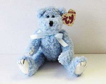 5e8ec597d47 Ty Attic Treasures Bear-Bluebeary-Vintage 1993 Beanie Babies Co Plush Soft  Stuffed Figure Toy-Both Tags Present Blue Berry Curly Fur