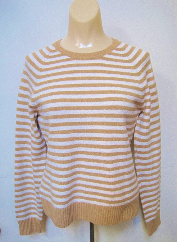 Suéter de mujer blanco y dorado marrón rayas Stretch marca  b65a65b85db0