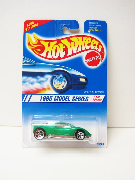 Hot Wheels Speed Blaster 1995 Model Series #1 Green Mattel Die Cast Car  1/64 Scale Vintage Toy Fantasy Racing Car Mint On Card MOC #343