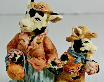 Moother's Li'l Rascow Mothers Rascal Cow Figurine CT 051 1995 Ganz Cowtown Mom Son