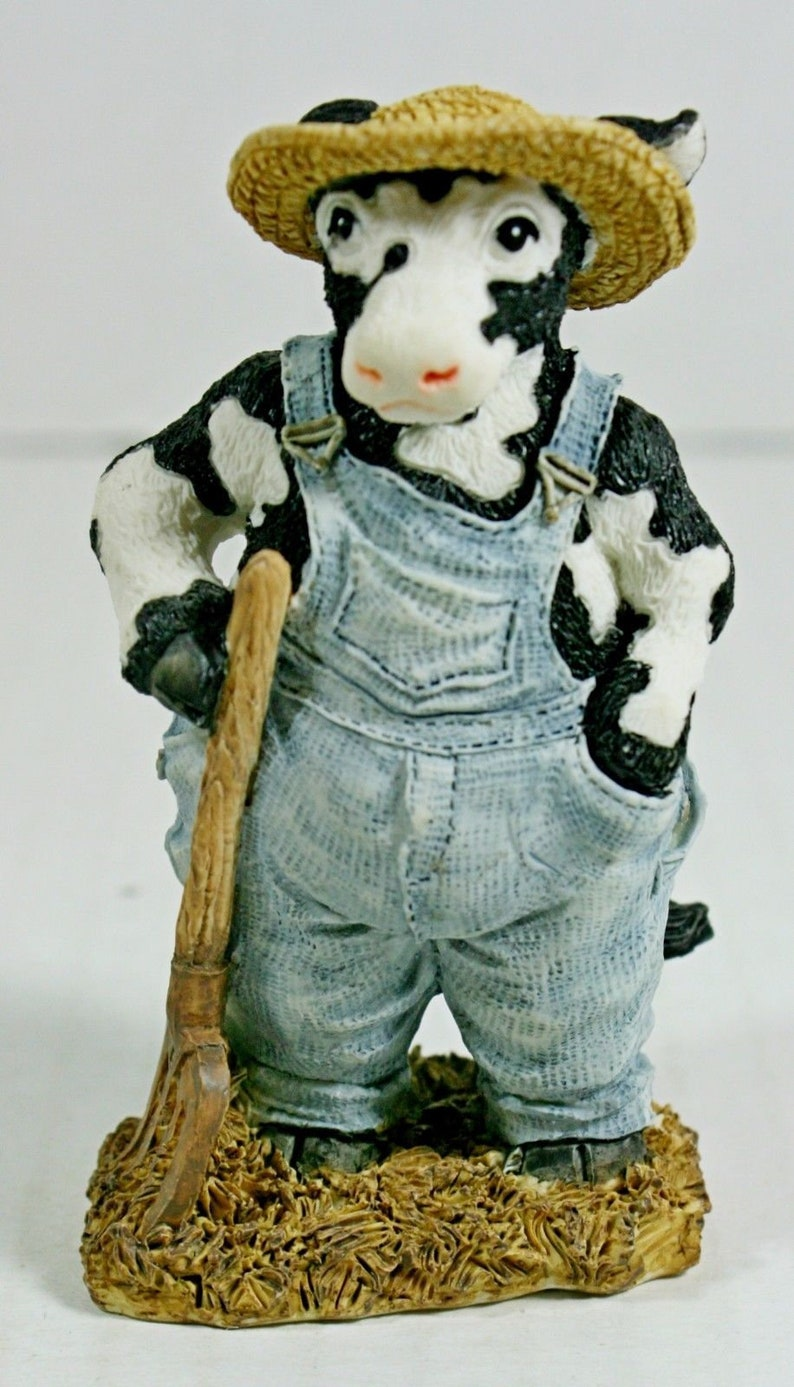 Cowtown Old Moodonald Cow Figurine Farm Ranch Hand McDonald Country Vintage  1992