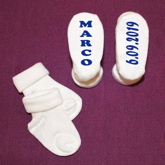 Rosa /& Blau Babysocken Baby Socken mit Grafik und Wunschname Taufe Geburt
