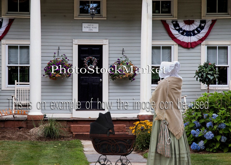 American Home Backdrop - Country Home Background - New England House -  Americana - Photoshop Background - Front Door - Historic House