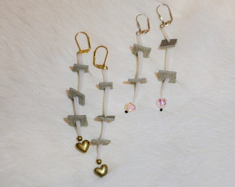 Heart Shoulder Duster Earrings, Indigenous Handmade