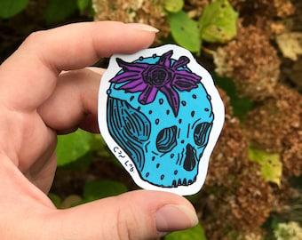 Strawberry Skull Matte Sticker, Canadian-Indigenous Made