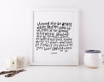 Wrong Will Be Right When Aslan Comes In Sight Narnia Print, Encouragement, Grief, Miscarriage