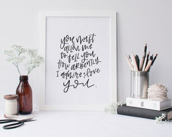Pride and Prejudice Anniversary/Wedding Print