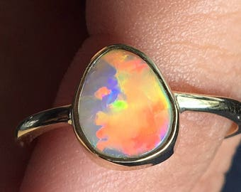 Australian Opal Ring with Bright Orange flash set in 9ct Yellow Gold