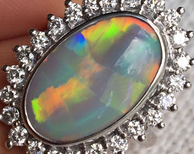 18ct White Gold, Opal & Diamond Cluster Ring