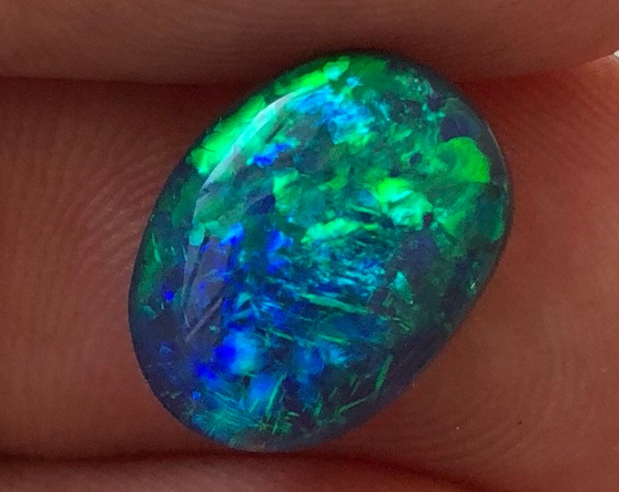 2.7ct Australian Black Opal Gem with Gorgeous Blue and Green Play of Color