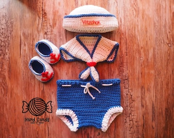 Personalised Crochet Baby Sailor outfit set
