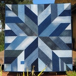 Blue Giant quilt pattern – star block modern quilt pdf pattern made from recycled/upcycled blue denim jeans