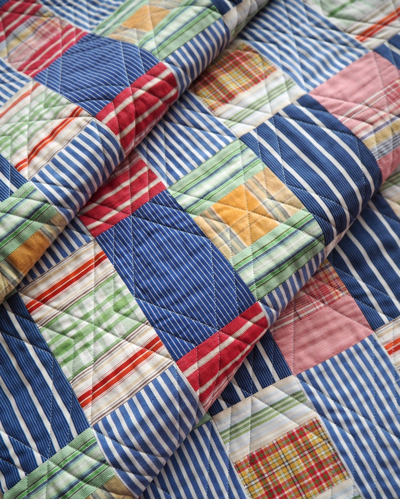 Checks and Balances quilt pattern PDF download  modern stripe image 0