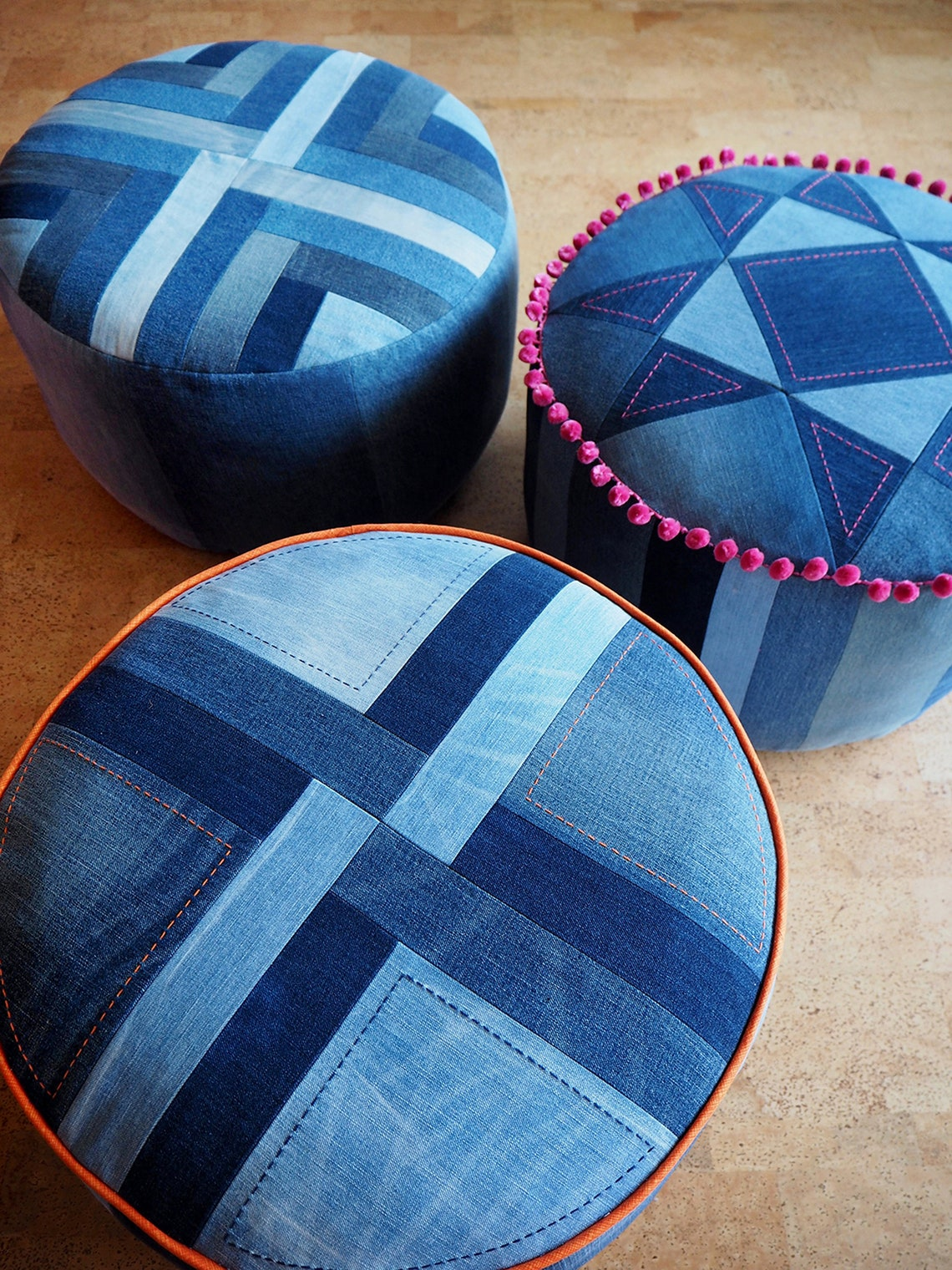 Put Your Feet Up pouffe pattern PDF download  denim patchwork image 0