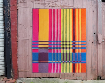 Handloomed quilt pattern PDF download – stripe modern quilt in cushion, throw and now QUEEN quilt sizes