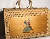 Spanish souvenir Basket weaver travel case rattan carrying basket corridor race and Spanish dancers design hippy bohemian style home decor
