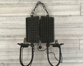 french vintage light fixture waffle maker cast iron made into a light wall hanging decor kitchen unique decor lighting