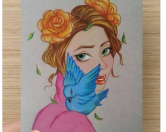Harmony Girl Flowers Bird