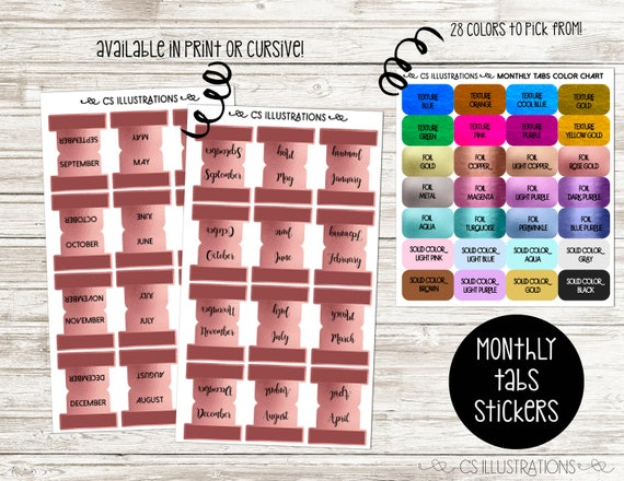 monthly tabs planner sticker available in 28 colors etsy