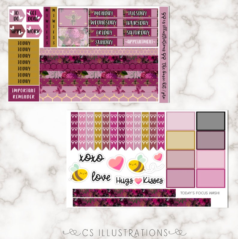 Passion Planner Pro Queen Love Bee Basic Functional Kit for Passion Planner Pro; 4 Sheets; Custom Colors Passion Planner Stickers