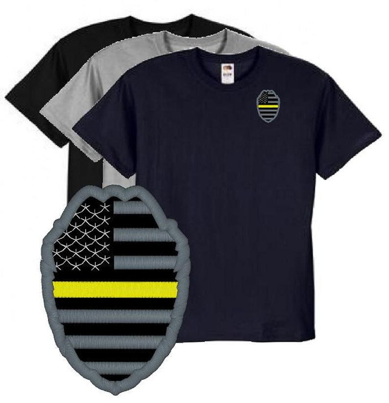 a7b5c2908c2cf Thin Yellow Line Flag Badge Police Dispatcher Embroidered Tee Shirt #671