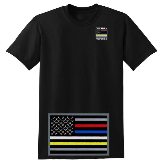 c6a0370653fc8 Thin Red Blue White Yellow Line Dispatcher Tee Shirt Embroidered #655