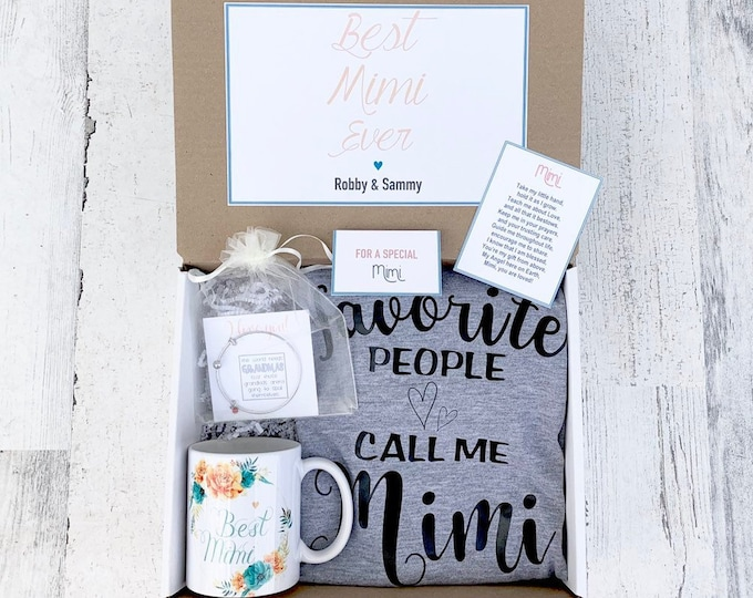 Mimi Gift Box - Mommom Gift Set - Mimi Shirt, Mug and Bracelet Set in Gift Box with Note - Customizable