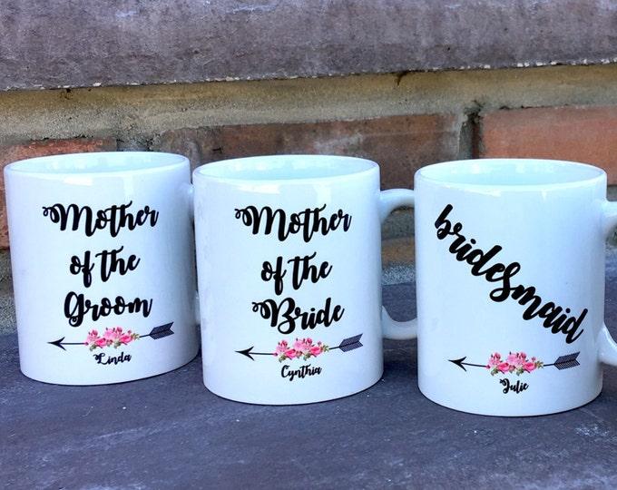 Bridal Party Mug Set - Bridal Party Gifts - Personalized Mugs - Wedding Mugs