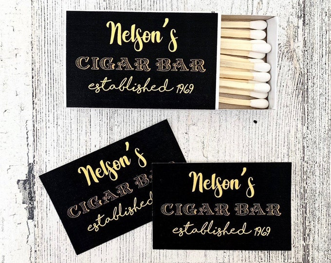 Matches Favors - Black and Gold Matchbox Favors - Birthday Matchbox Favors - Customizable