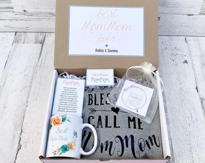 Mommom Gift Box - Mommom Gift Set - Mommom Shirt, Mug and Bracelet Set in Gift Box with Note - Customizable