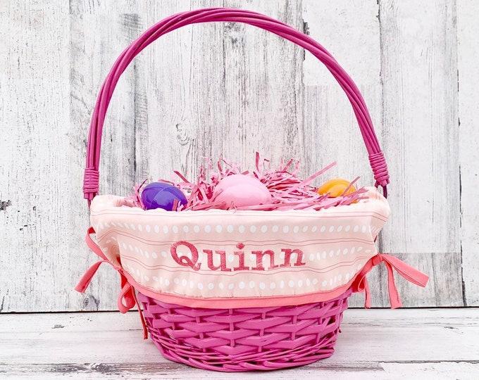 Easter Basket liner - Embroidered with name - Easter Basket Cover - Fits Large Basket - Adjustable Band