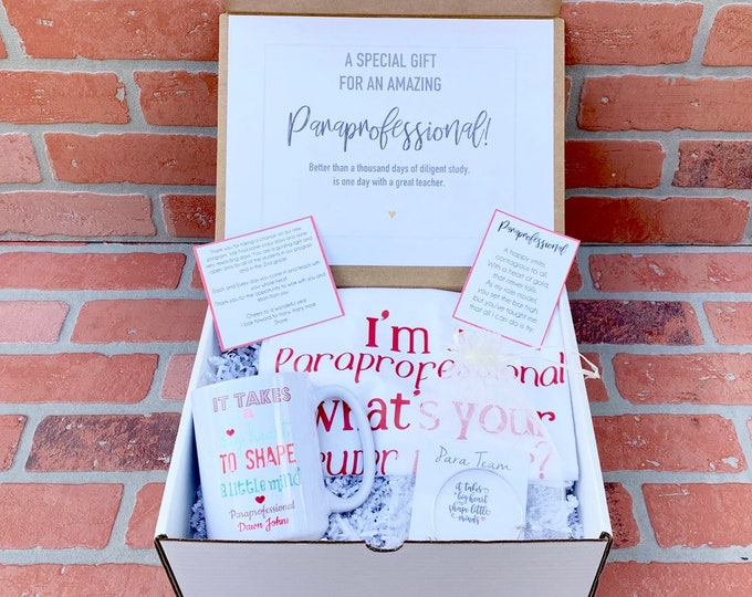Paraprofessional gift Box - Personalized Teacher Gift - Teacher Gift Set with Shirt, Teacher Mug, and Bracelet - Para Team