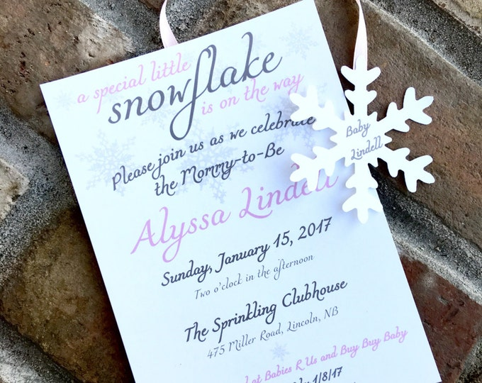 Snowflake on the way - pink - baby shower invitations -  little snowflake - winter baby shower - snowflake theme