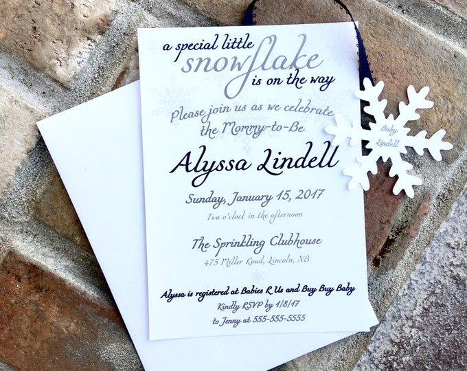 Snowflake on the way - Navy Blue - baby shower invitations -  little snowflake - winter baby shower - snowflake theme