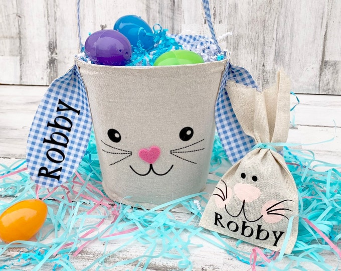 Easter Bunny Basket with Name- Personalized Set with name - Easter Bunny - Easter Treat Bag with Name