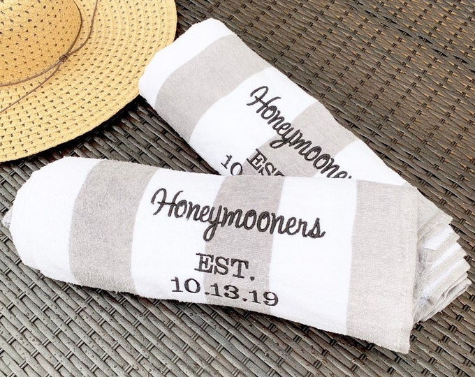 Honeymoon Towels - Personalized Beach Towels - Honeymooners - Wedding Date
