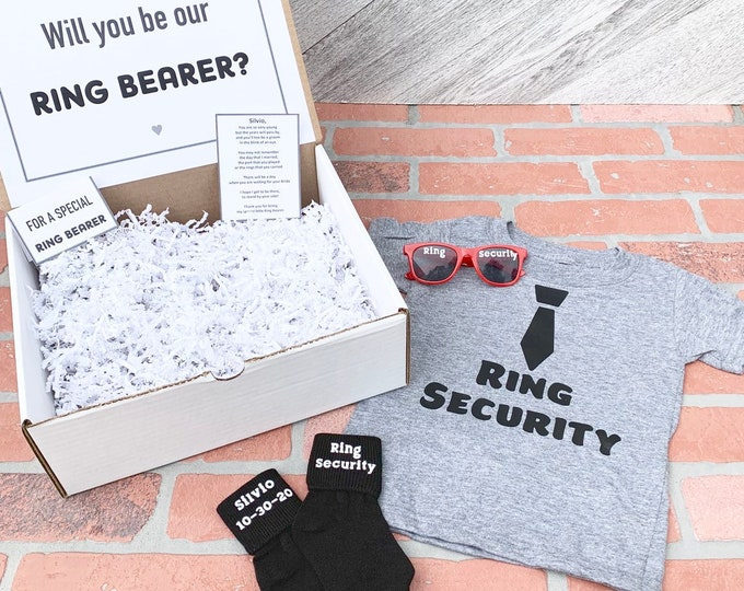 Ring Bearer Gift Set - Ring Security - Ring Bearer Proposal - Will you be my Ring Bearerer - Gift Box