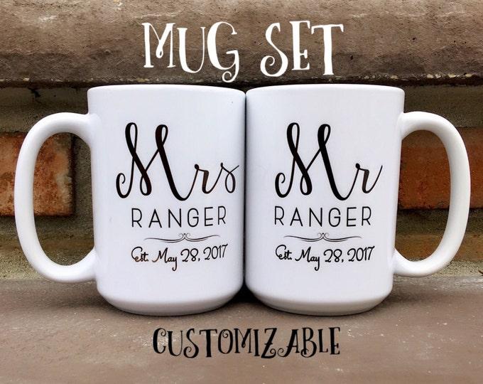 Bride Groom Mug Set - Mr and Mrs Mugs - Personalized Mugs - Wedding Mugs - Bride and Groom Mug Set - Gift Set