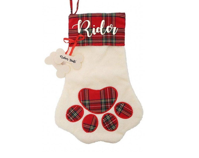 Dog Stockings - Pet Christmas Stockings - Personalized Dog Stockings - Paw Print Shaped