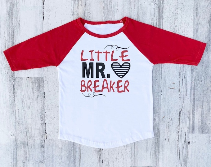 Toddler Valentine Shirts - Raglan Sleeves - Red and White Valentine - Little Mr Heart Breaker - Sorry Girls Mommy is my Valentine